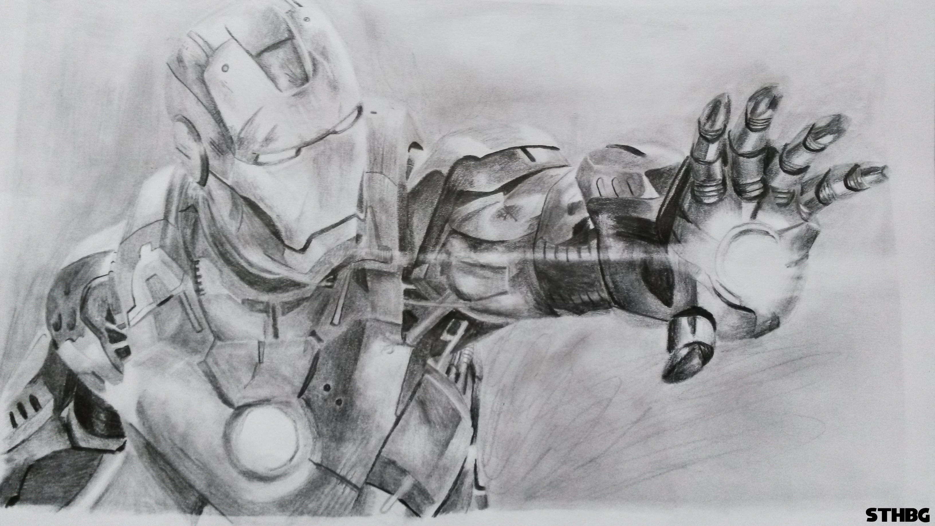 Sonicthehedgehogbg iron man pencil drawing by sonicthehedgehogbg