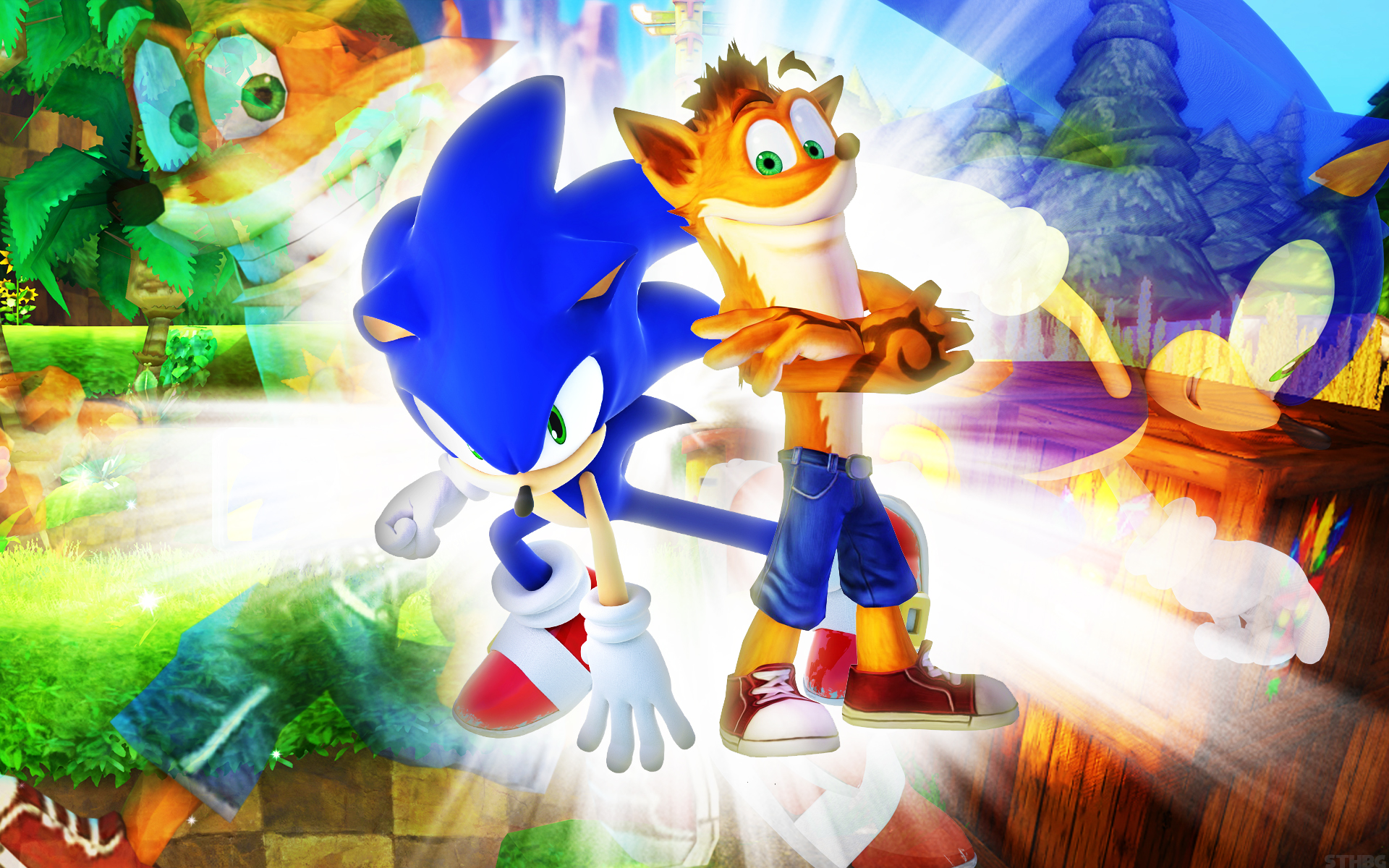 sonic the hedgehog and crash bandicoot wallpaper by