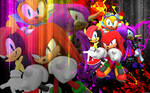 Knuckles, Mighty, Ray And Espio - Wallpaper