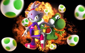 Blaze The Cat And Yoshi - Wallpaper