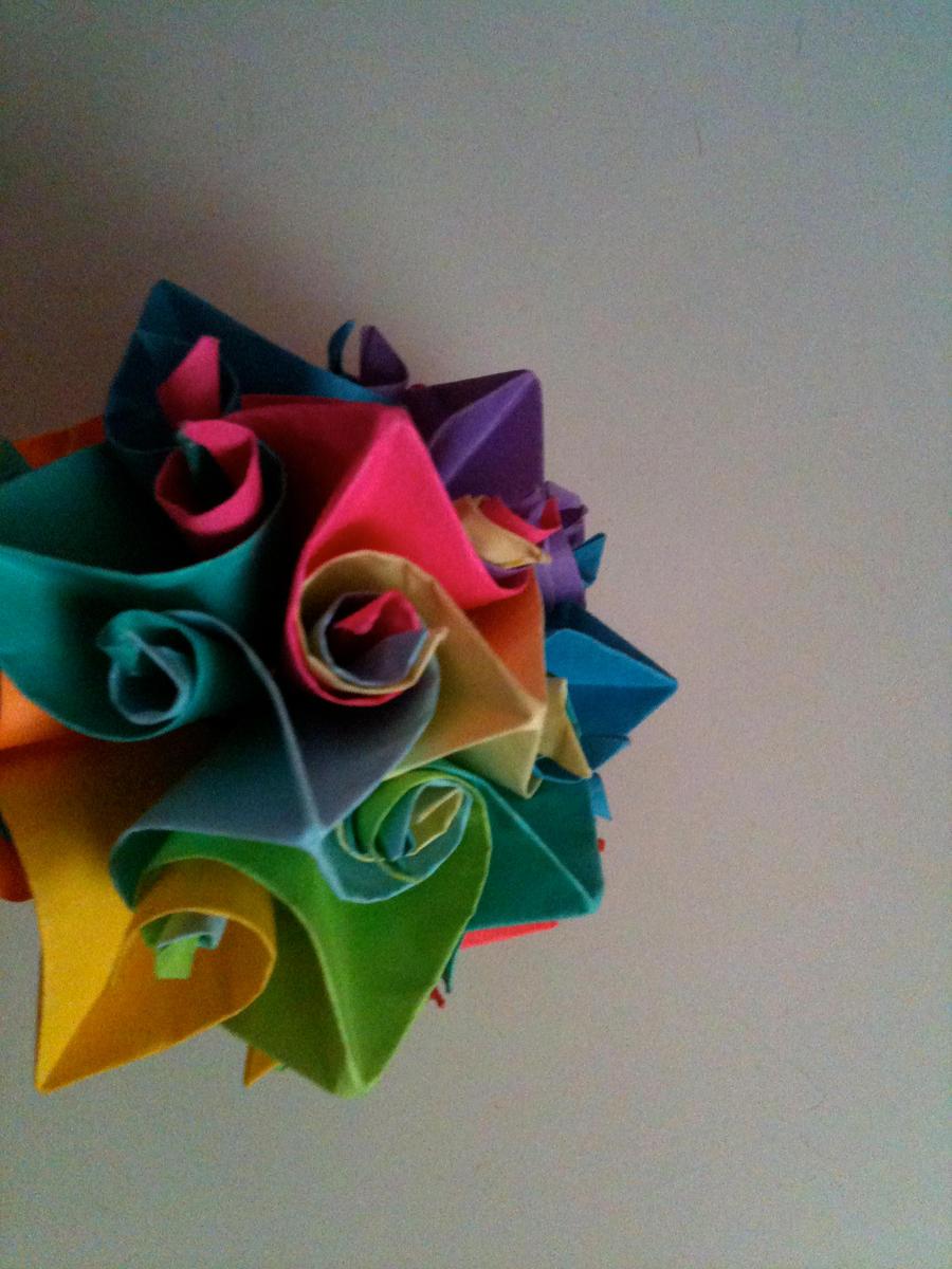 rainbow origami curly ball by littlehalfasianninja