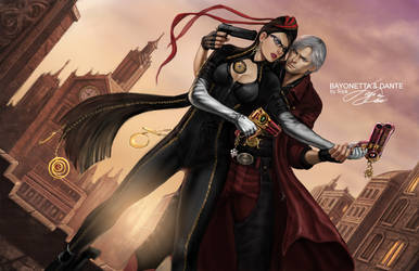 Bayonetta vs. Dante by kamillyonsiya