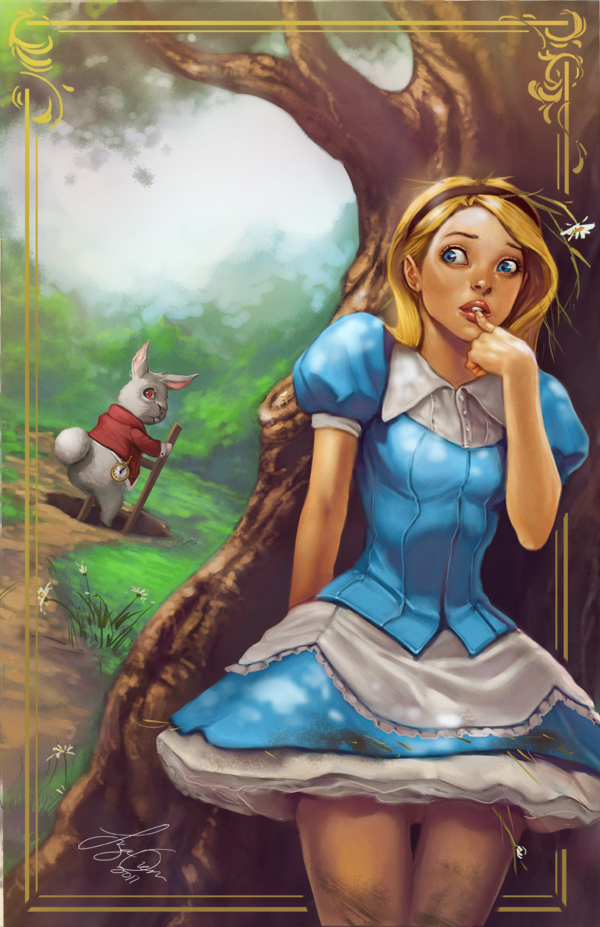The White Rabbit and Alice by kamillyonsiya