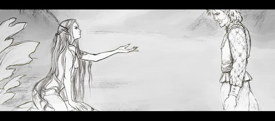 Mermaid Comic page wip by Heylenne