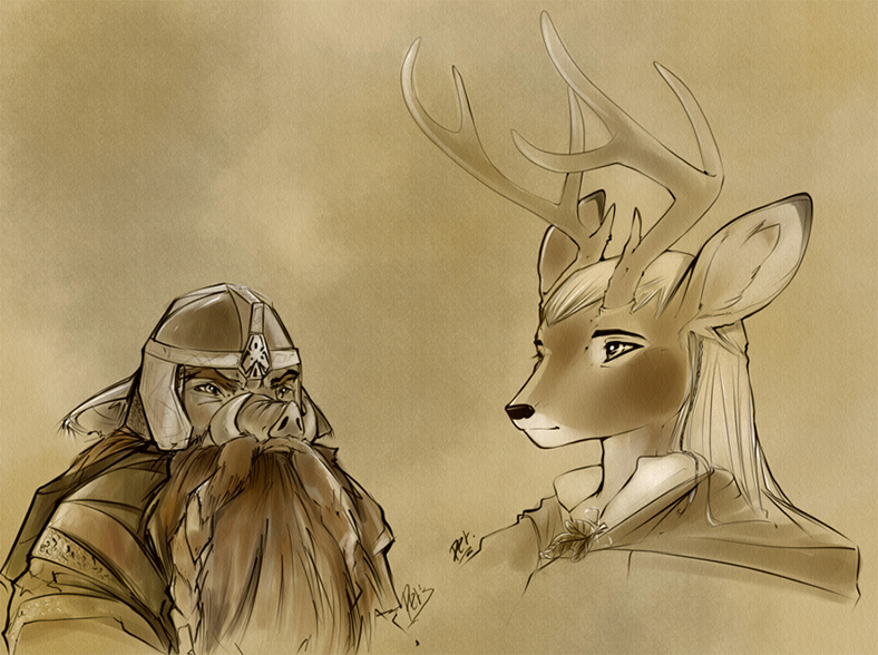 Legolas and Gimli by Edheloth