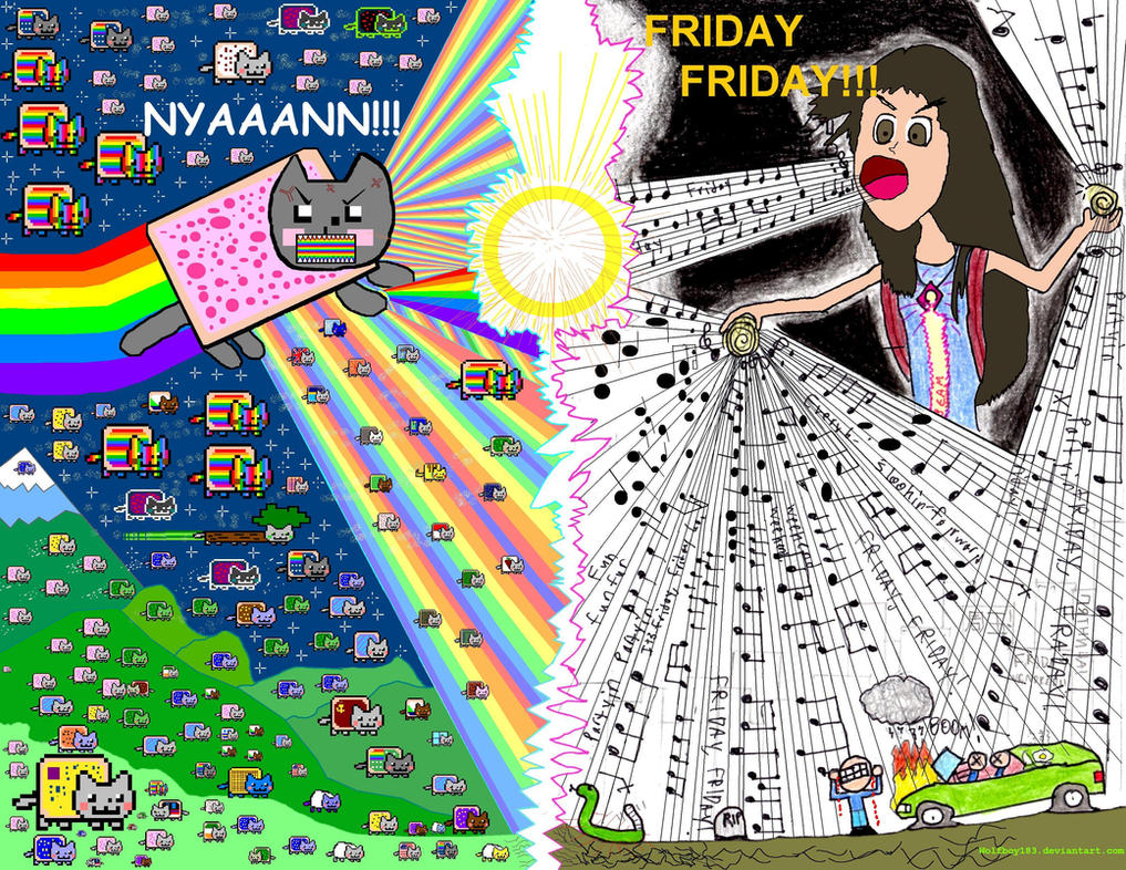 Nyan Cat Vs Rebecca Black by Wolfboy183
