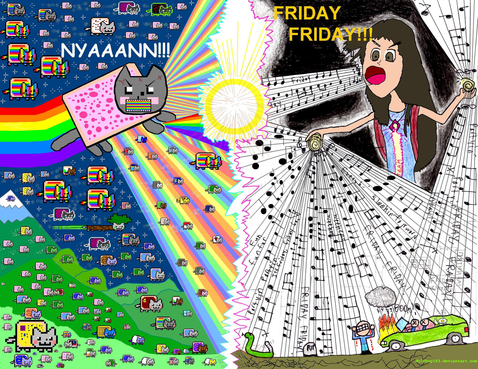 Nyan Cat Vs Rebecca Black by Wolfboy183