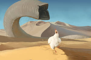 SANDWORM CHASING CHICKEN by dante-cg