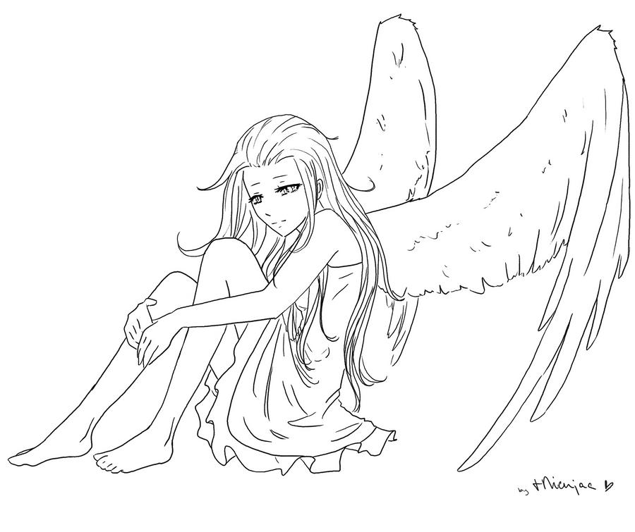 Line Drawing Angel : Angel thingie lineart by tnienjaa on deviantart