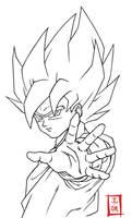 Goku SSJ Stance Lineart