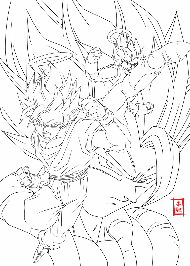 Dragon Ball Z Lineart : Fusion lineart by snakou on deviantart