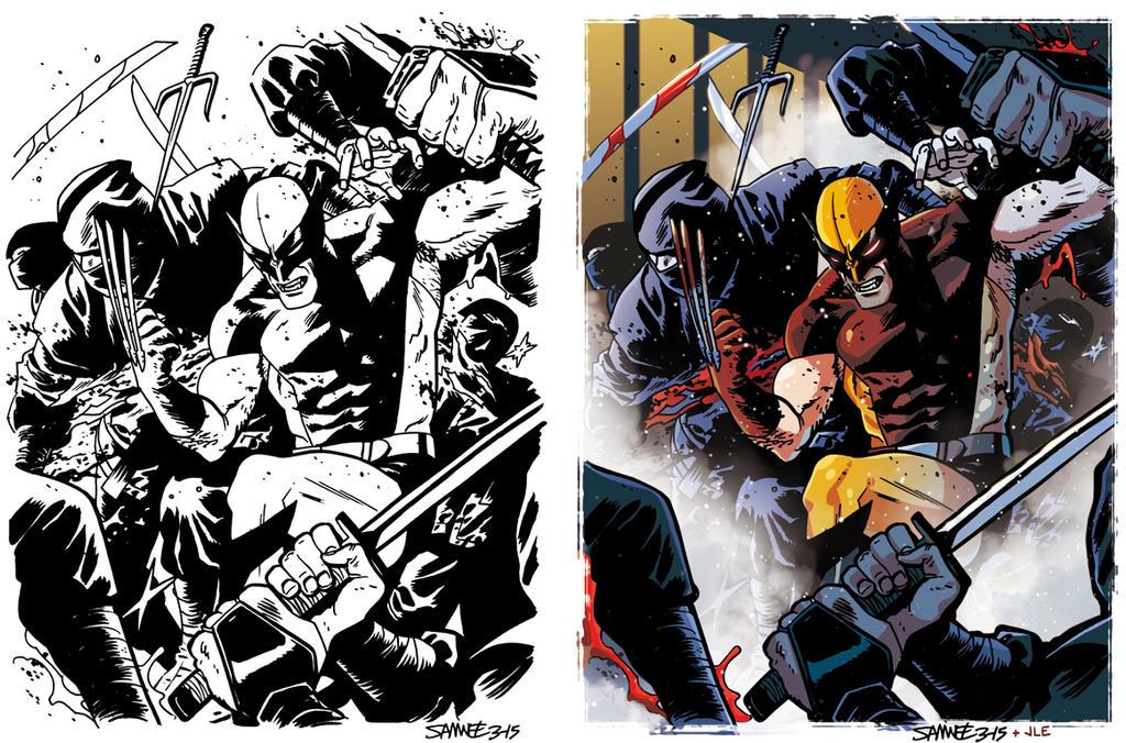 Wolverine vs Ninja squad