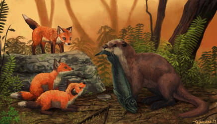 Mother Otter feeds Fox Cubs by Trunchbull