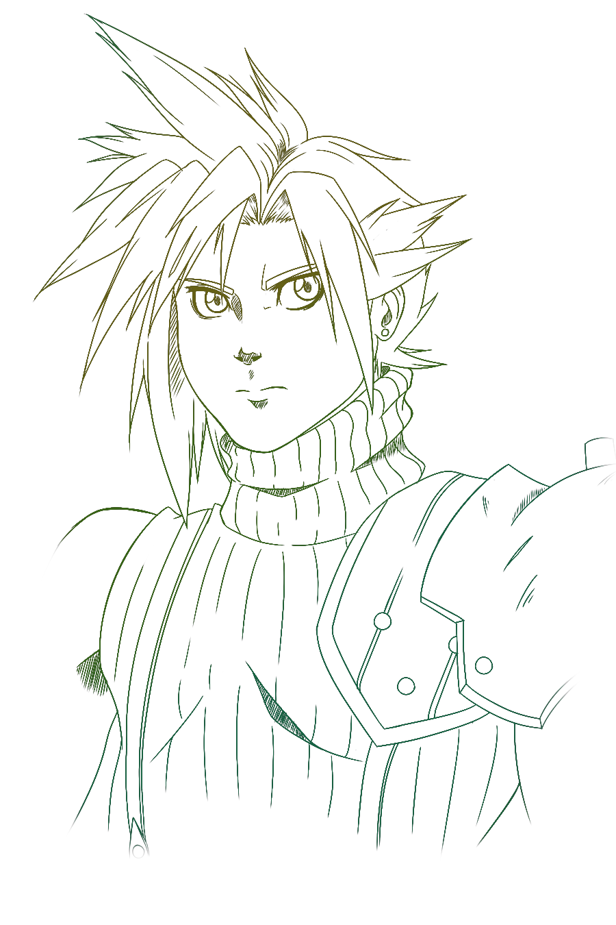Final fantasy vii 15th anniversary cloud strife by for Final fantasy coloring pages