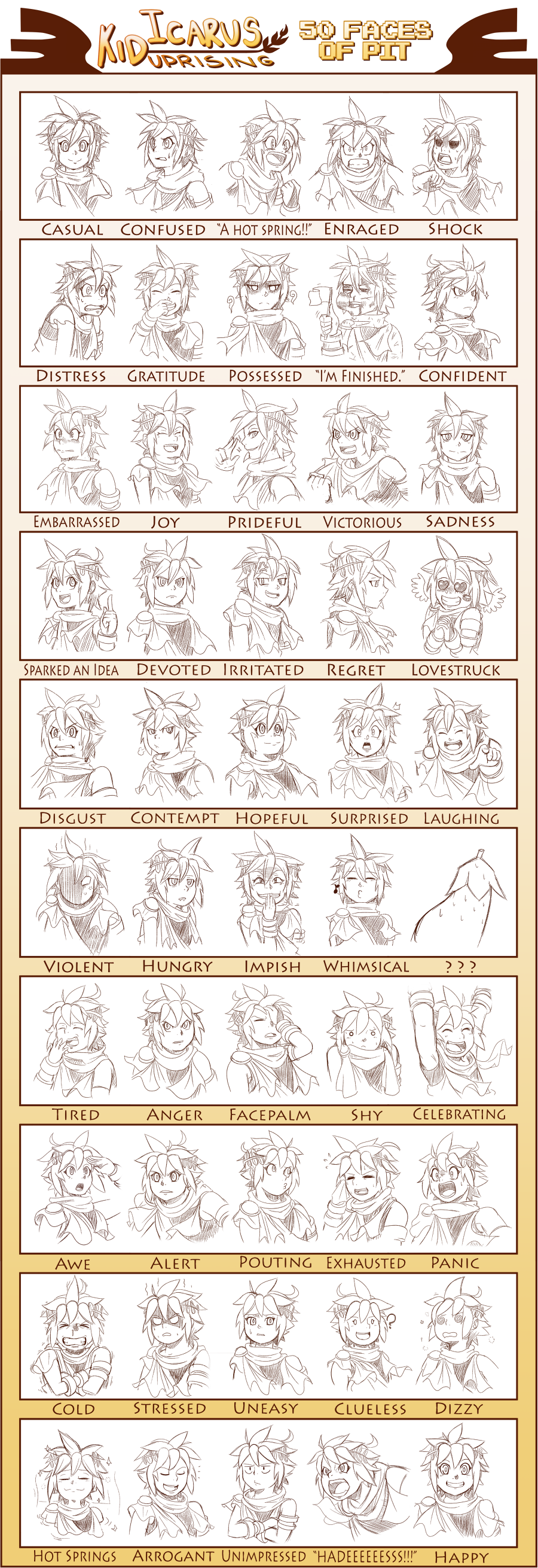 Kid Icarus 50 Faces Of Pit Sketches By Kanokawa