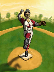 'the thrower' baseball by Ifritmermaid