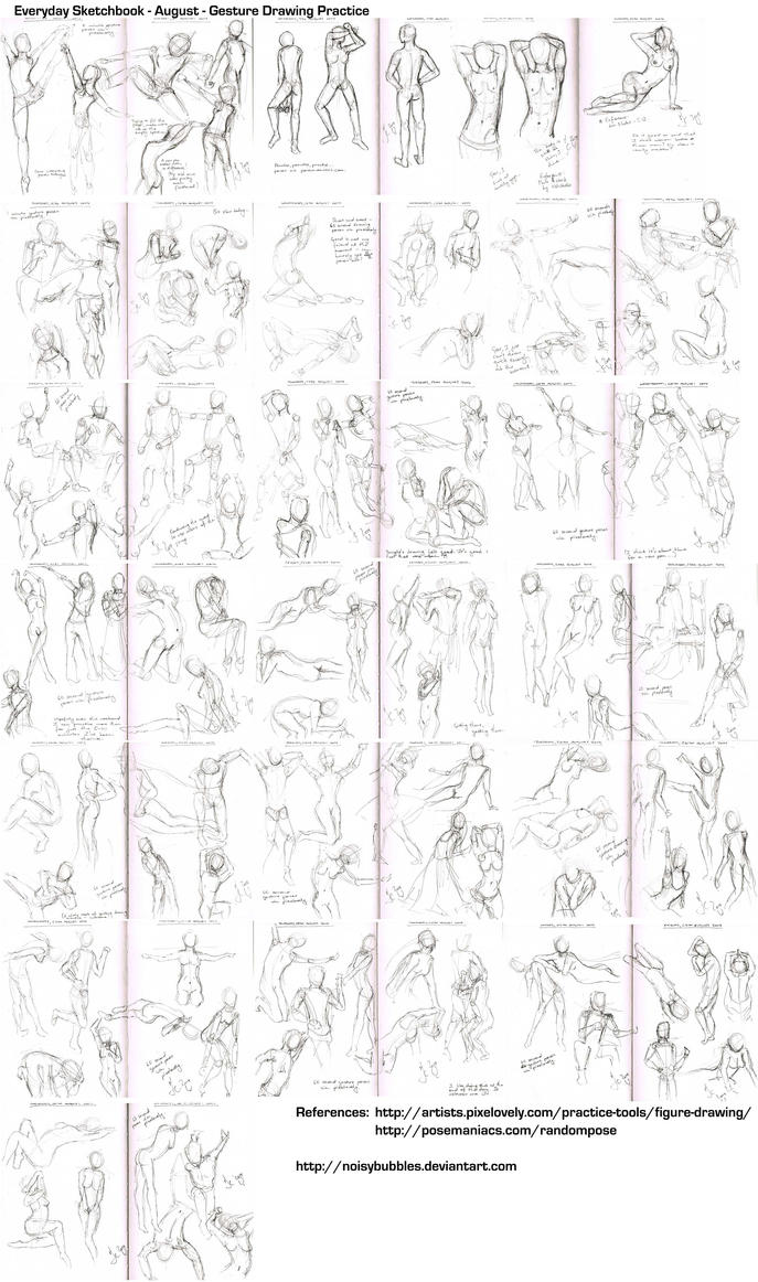 Everyday Sketchbook - August '14 - Gesture Drawing by noisybubbles