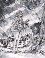 Zombies in Wonderland full inks by DW Miller by ConceptsByMiller