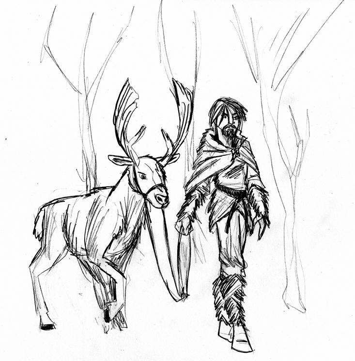 Fantasy Sketch:  Reins on a Reindeer by ArchiCrash