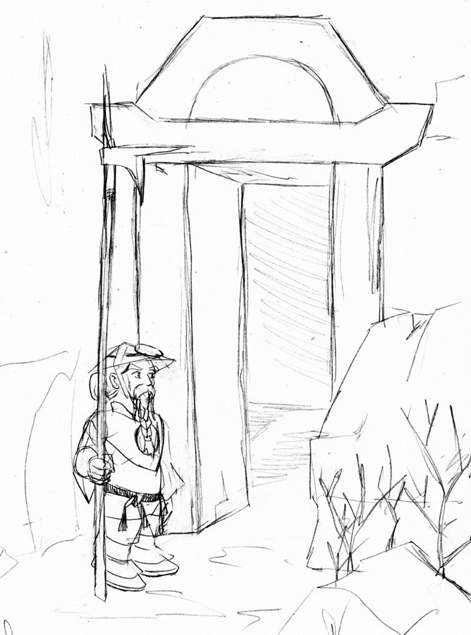 Fantasy Sketch:  Dwarven Back Gate by ArchiCrash
