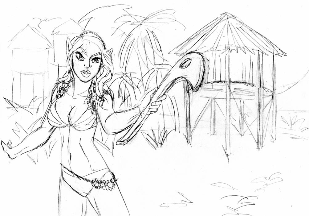 Fantasy Sketch: Islander Elf Guard by ArchiCrash
