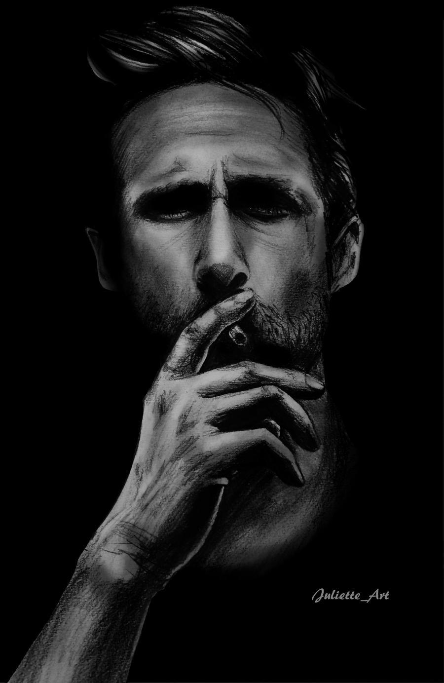 Ryan Gosling Smoking By Lutesreves