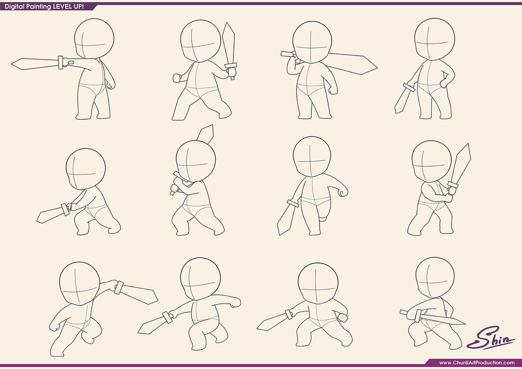 Studying - Chibi Fighting Poses by shinekoshin