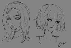 Sketch - Semi Girl Portrait by shinekoshin