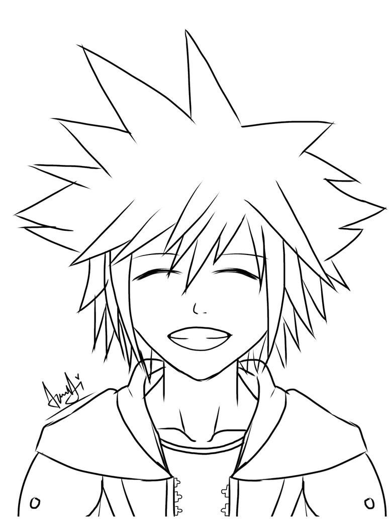 Kingdom Hearts Lineart : Sora kingdom hearts lineart by christyhana on deviantart