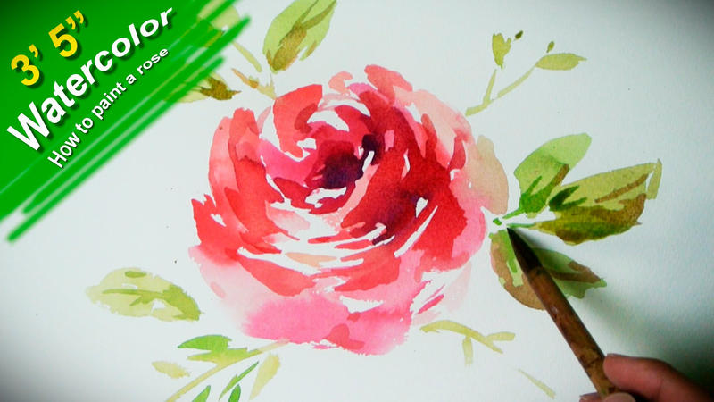 How to paint a flower with watercolor jayart by for How to paint a rose watercolor