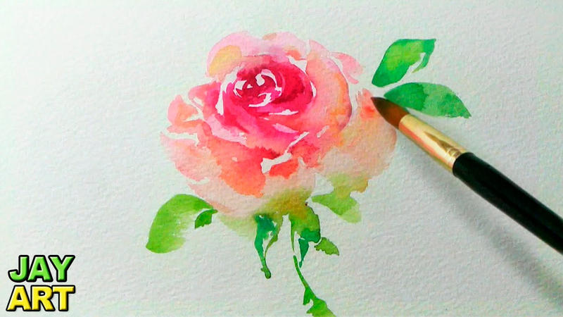 How to paint a pink rose in watercolor by jayartpainting for How to paint a rose in watercolour