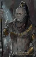 Temple warrior (sketch) by IcedWingsArt