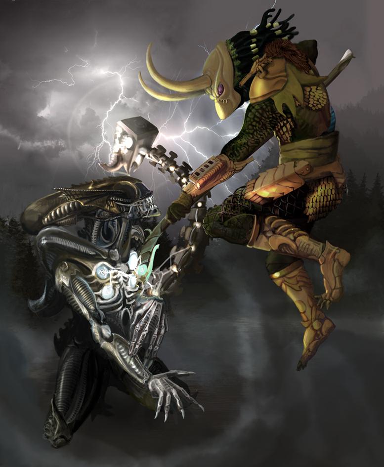 Loki as Predator vs Thor-Alien by Nikrstic