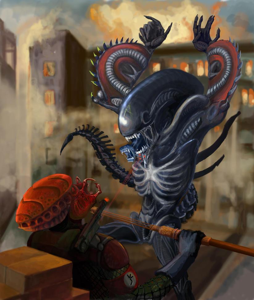 Red Predator vs American Alien by Nikrstic