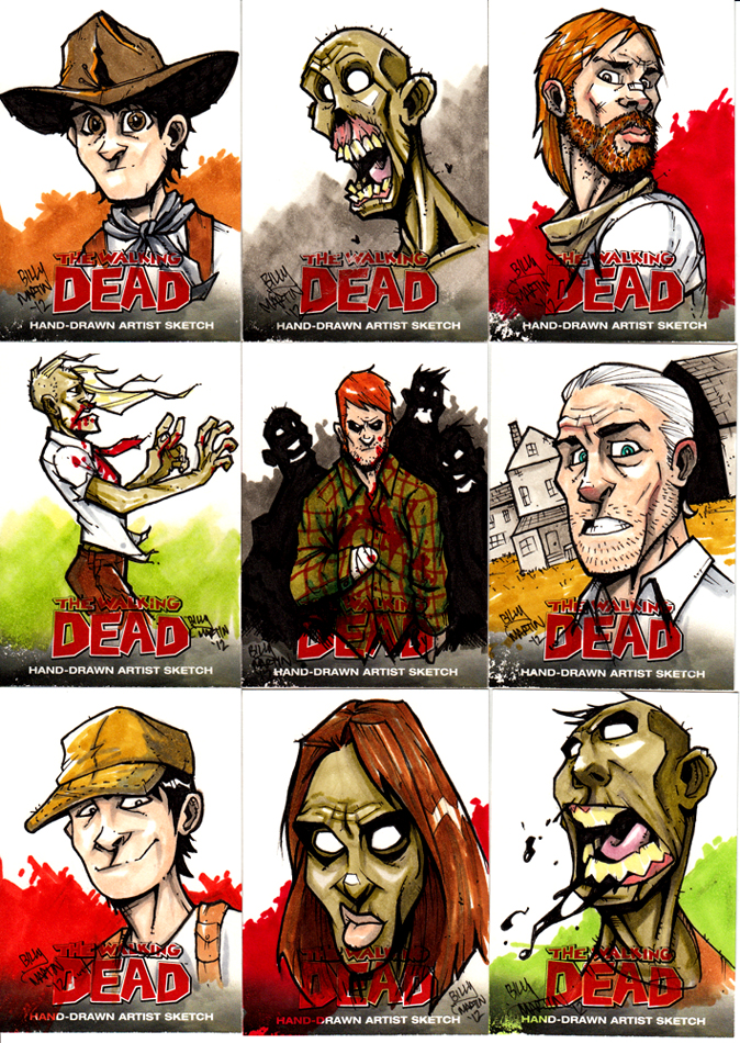 Walking Dead Sketch Cards Set 1 by Bloodzilla-Billy