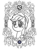 Applejack Vintage Profile (Line Art) by Template93