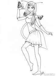 Butterfly Girl Line Art