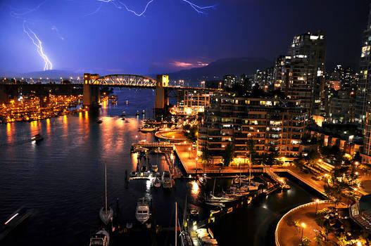 Lightning above Vancouver