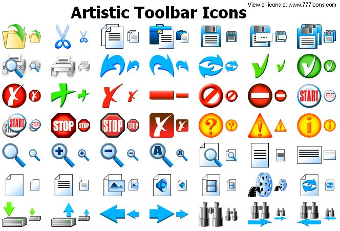 Artistic Toolbar Icons by newroze