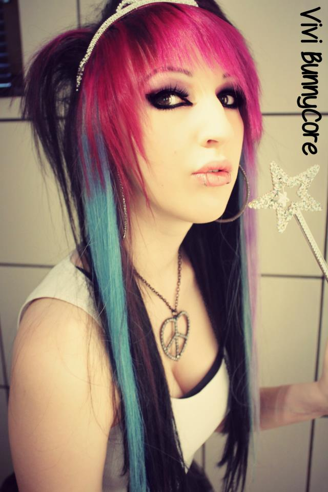 Vivi BunnyCore scene queen with pink blue hair by ...