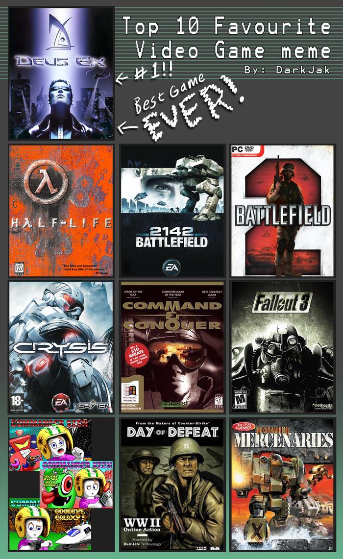 Top Online Magazines 2015: Top 10 Video Games Meme By ZEROresolution On DeviantArt