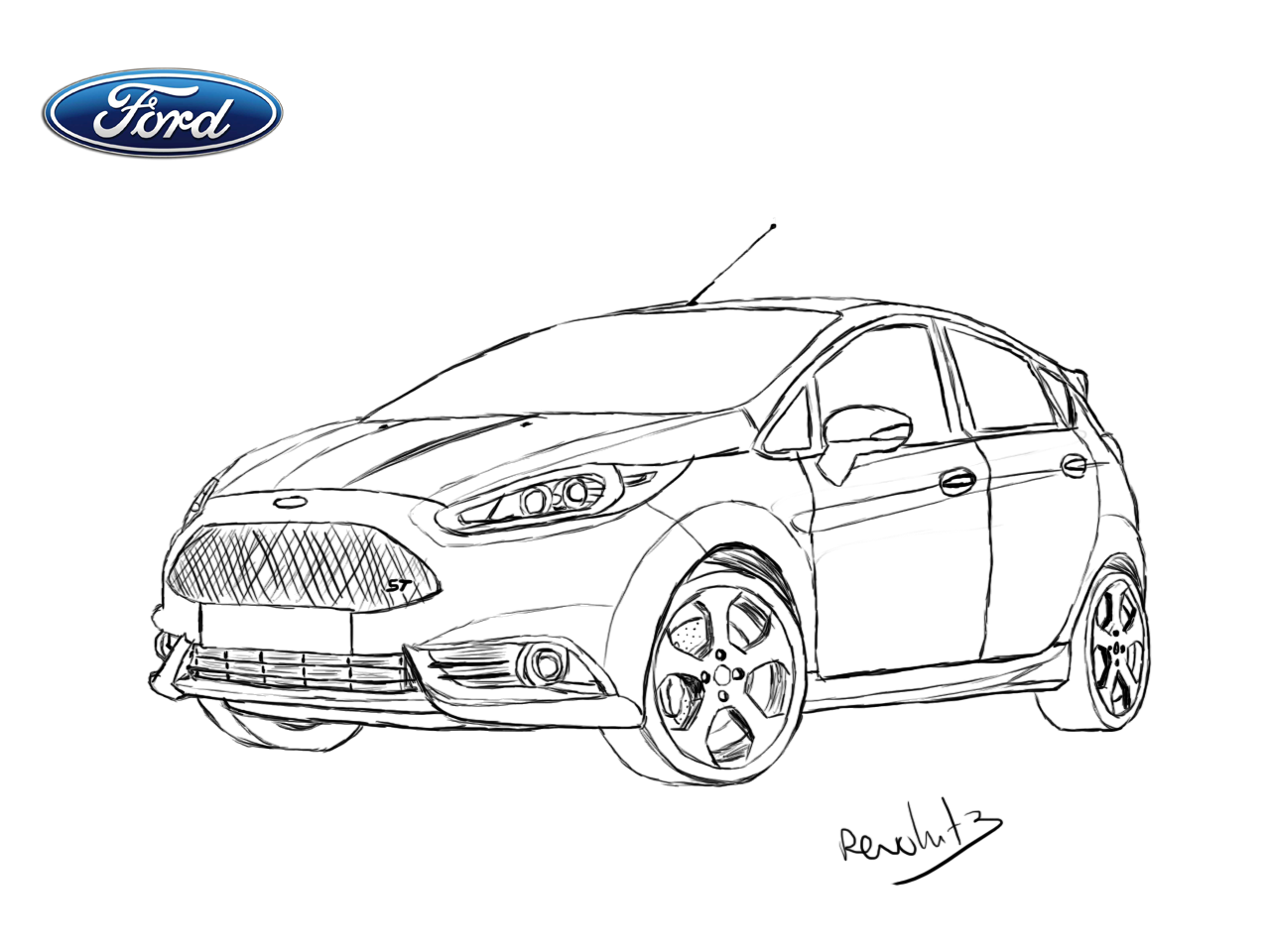 ford fiesta st drawing by revolut3 on deviantart