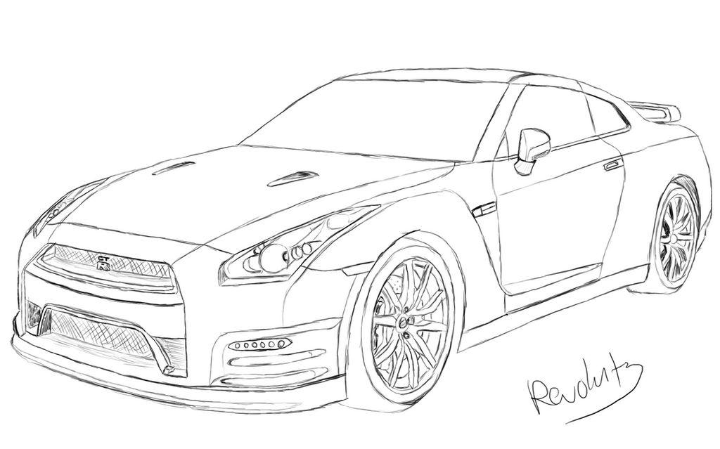 Nissan GTR Drawing by Revolut3 on DeviantArt