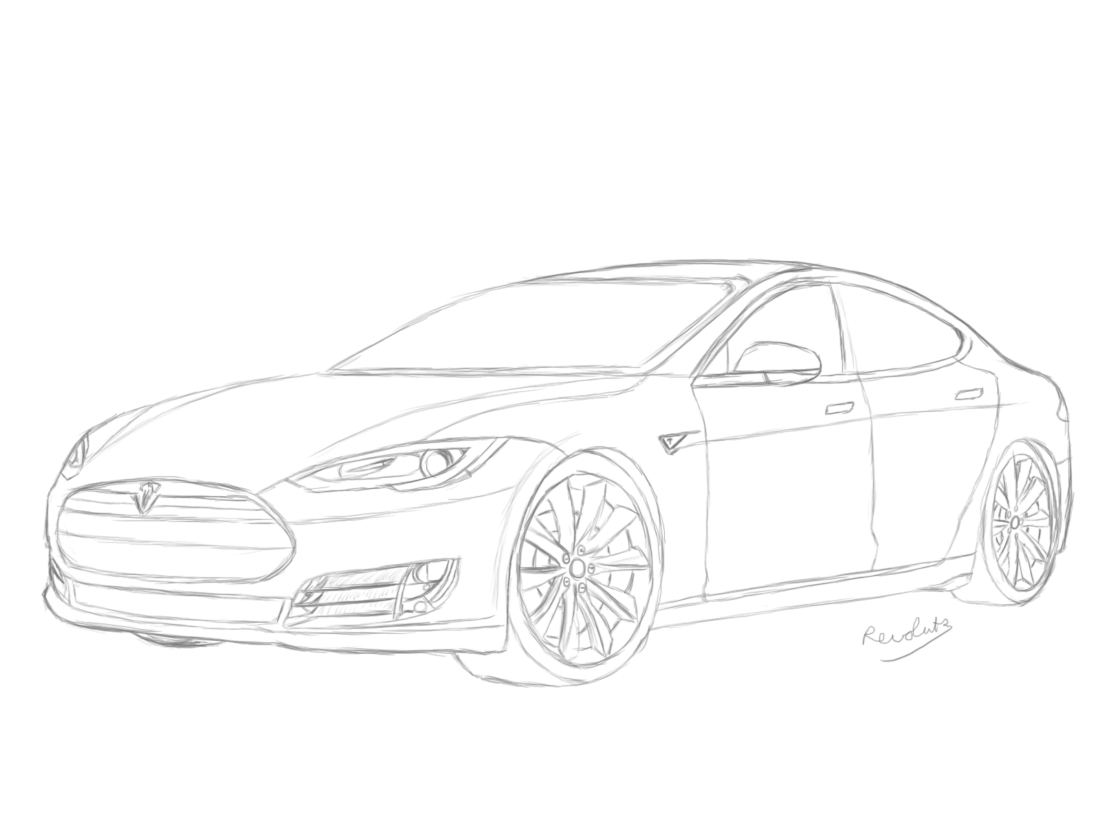 Tesla Car Coloring Pages : How to draw car sketch hledat googlem drawing cars