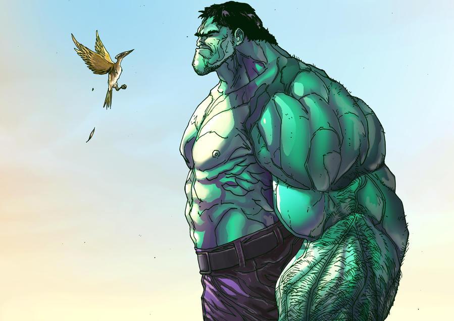Hulk and a Bird by IvannaMatilla