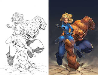 Sue Storm and The Thing by Randy Green by IvannaMatilla