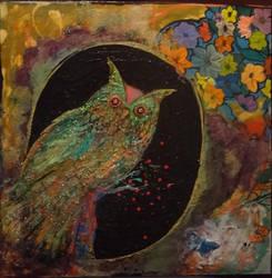Techno Owl (fine glitter art) by RiteSide13