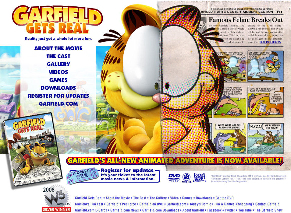 Garfield Gets Real Direct To Video Website Design By Jeffwesley On Deviantart