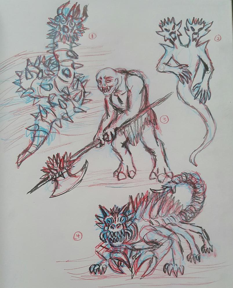Aeraetana Monster concept sketches by TheRavensBastard39