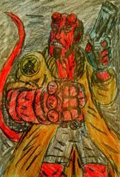 Hellboy portrait by TheRavensBastard39
